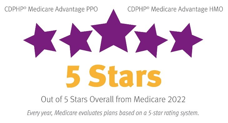 CDPHP - 5 Stars overall from Medicare 2022