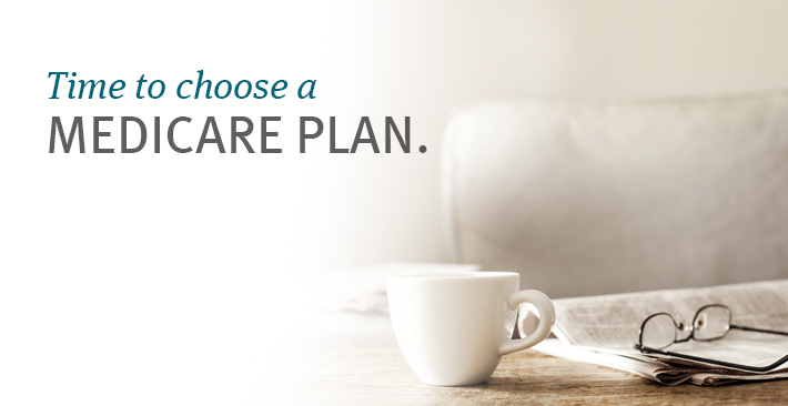 Desk with coffee and suggestion to choose Medicare plan