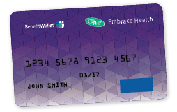 embrace health purple debit card